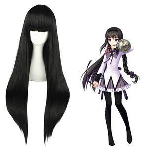 마법소녀 마도카☆마기카 Akemi Homura 검은 코스프레 가발