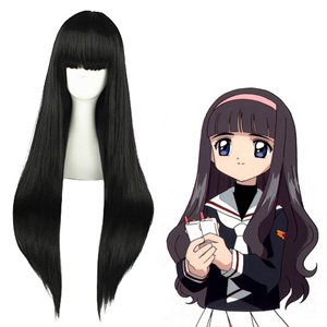 Cardcaptor Sakura Daidouji Tomoyo Zwart Cosplay Pruiken