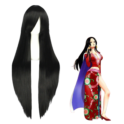One Piece Boa Hancock 100cm Schwarz Faschings Cosplay Perücken