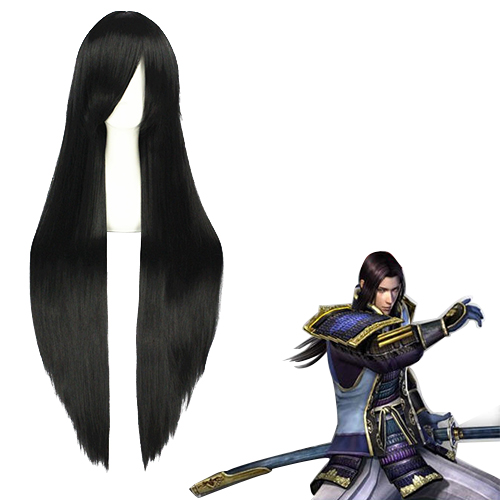 전국무쌍 Akechi Mitsuhide 검은 코스프레 가발