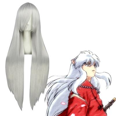 Inuyasha 100cm Inuyasha Silvery White Cosplay Wigs