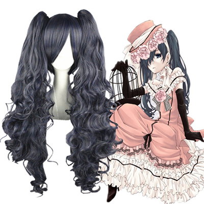 Black Butler Ciel Women 80cm Blau Grey Faschings Cosplay Perücken