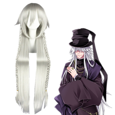 Black Butler Undertaker Silbrige Weiß Faschings Cosplay Perücken