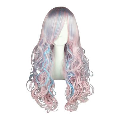Японский Харадзюку Лолита 70cm Синий Розовый Косплей Парик