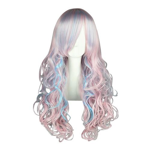 일본어 하라주쿠 로리타 패션 70cm 푸른 담홍색 코스프레 가발