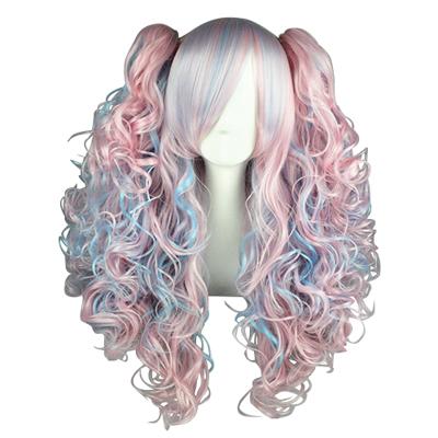Japansk Harajuku Søt Lolita Blå Rosa Cosplay Parykker