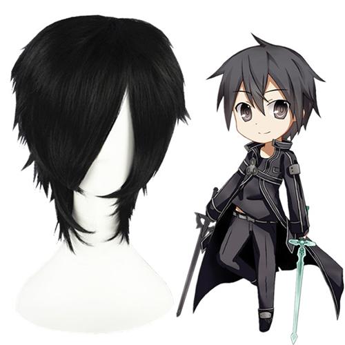 소드 아트 온라인 Kirito 검은 코스프레 가발