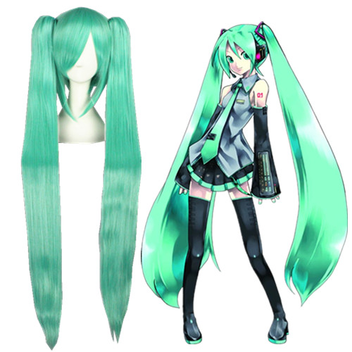 Vocaloid Hatsune Miku Verde Perucas Cosplay