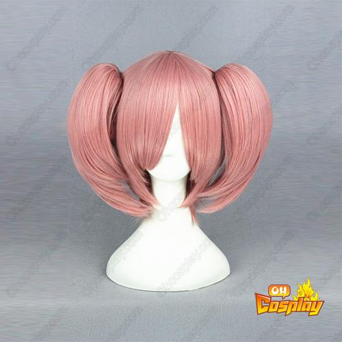 마법소녀 마도카☆마기카 Kaname Madoka 담홍색 코스프레 가발