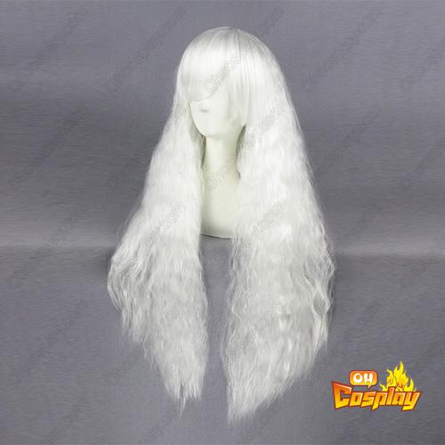 로리타 패션 일본어 하라주쿠 단 90cm 화이트 코스프레 가발