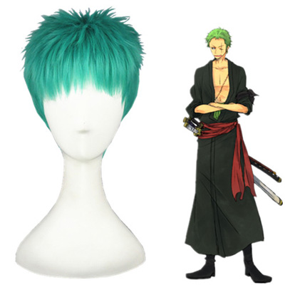 One Piece Roronoa Zoro Grass Verde Perucas Cosplay