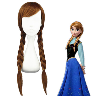 Frozen Anna Braun 75cm Faschings Cosplay Perücken