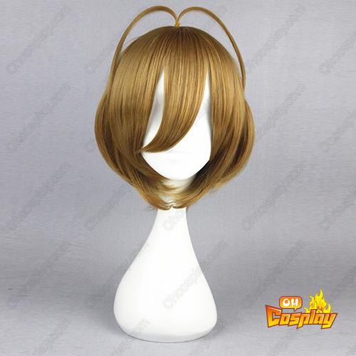 카드캡터 사쿠라 Kinomoto Sakura 골든 갈색 코스프레 가발