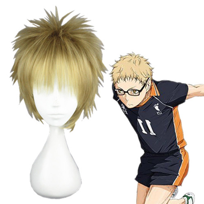 Haikyū!! Tsukishima Kei Pale Gold Fashion Cosplay Wigs