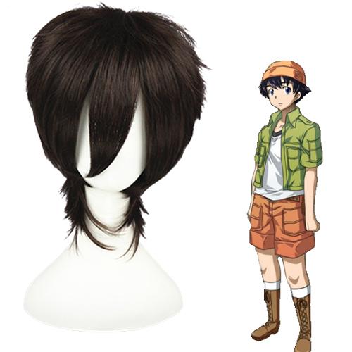 Mirai Nikki (미래일기) Amano Yukiteru 어두운 갈색 코스프레 가발