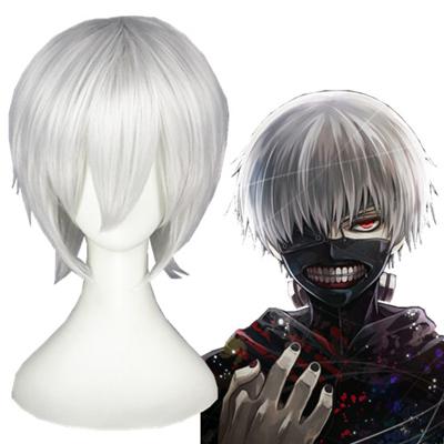 Tokyo Ghoul Ken Kaneki Sølvhvitt Cosplay Parykker