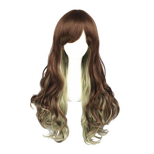 Japonês Harajuku Doce Lolita Curls Zíper Perucas Cosplay