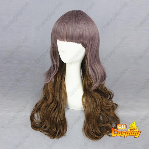Harajuku Fofa Lolita Longo Curls Zíper Perucas Cosplay