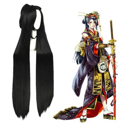 Touken Ranbu Online Jiro Tachi Fekete Cosplay Parókák