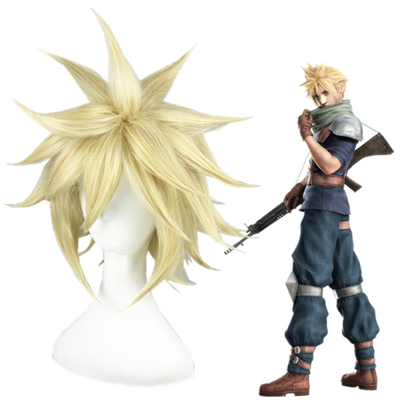 Final Fantasy VII Cloud Strife Ljusblond Cosplay Peruker