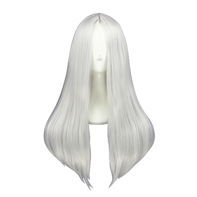 Long Straight 60cm Silvery White Cosplay Wigs
