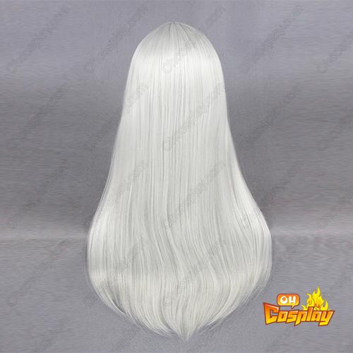 Lange Straight 60cm Silbrige Weiß Cosplay Perücken