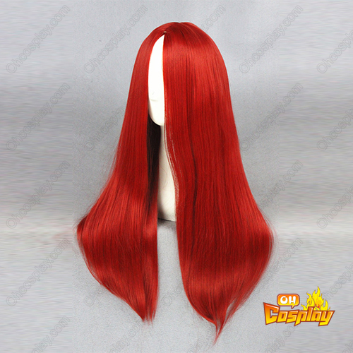 긴 Straight 60cm 빨간 코스프레 가발