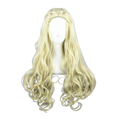 Princess Queen Lang Curly 80cm Lys blond Cosplay Parykker
