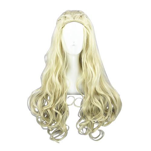 Princess Queen Longo Curly 80cm Loiro Claro Perucas Cosplay
