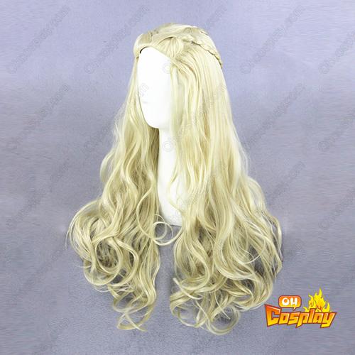 공주 여왕 긴 곱슬 곱슬 한 80cm 빛 금발 코스프레 가발
