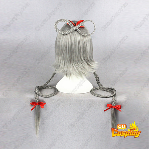 Vocaloid Luo Tianyi Gray With Red Ribbon Cosplay Wig