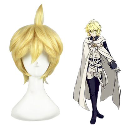 Seraph of the End Mikaela Hyakuya Amarelo Perucas Cosplay