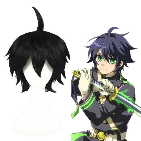 Seraph of the End Yuichiro Hyakuya 검은 코스프레 가발