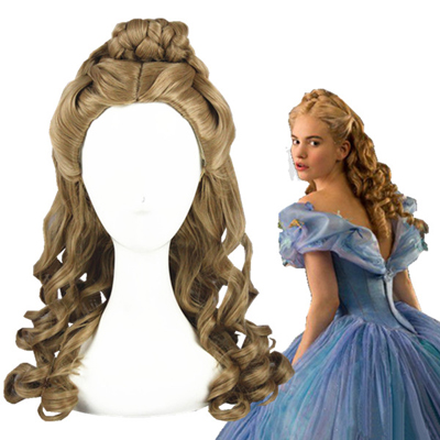 Cinderella Long Curly Brown Cosplay Wig
