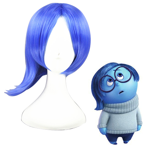 Inside Out Sadness Hellblau Cosplay Perücken