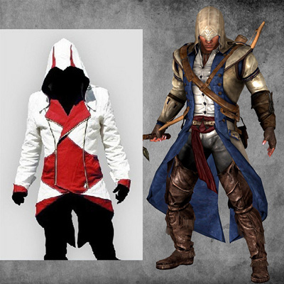 Fantasias Assassins Creed 3 III Conner Kenway Hoodie 5 Colors Coat Jaqueta