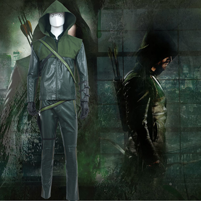 Arrow III Oliver Queen Green Upgraded Version Cosplay Kostymer
