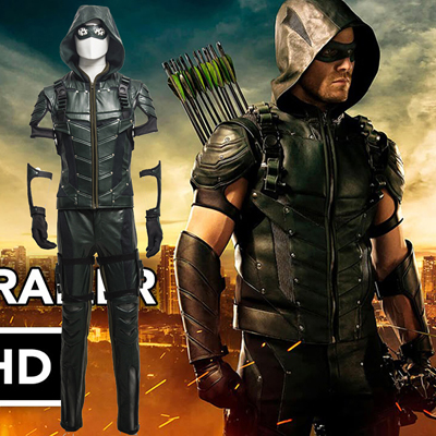 Fantasias de Arrow IIII Oliver Queen Upgraded Version Green Cosplay