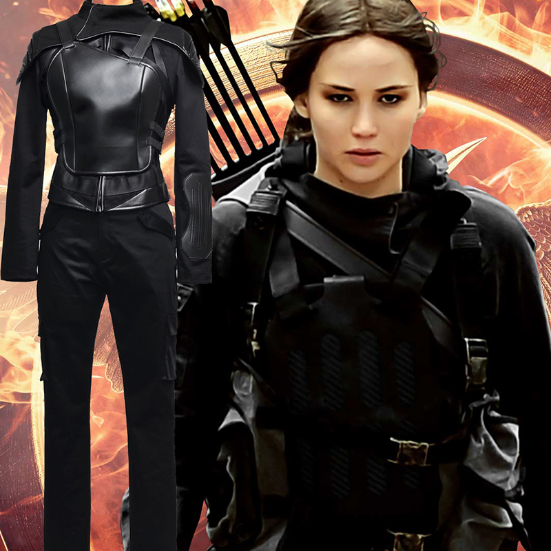 Fantasias de The Hunger Games Mockingjay Part 1 Cosplay Halloween Preto