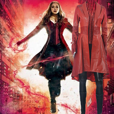 Captain America Scarlet Witch Cosplay Halloween Kostymer