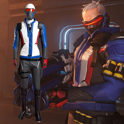 Overwatch Soldier 76 Cosplay Peli Puvut Coat