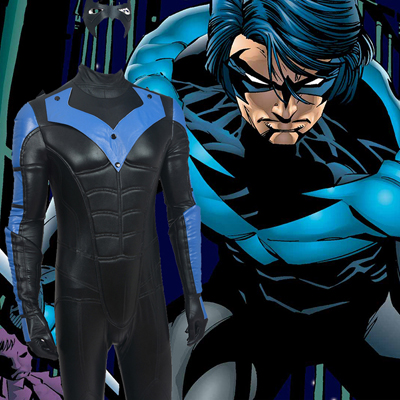Costumi Carnevale Batman: Arkham City NightWing Suit Zentai Cosplay For Men Set Completo