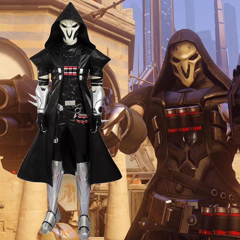 Overwatch Reaper Cosplay Karneval Kläder Specialtillverkade