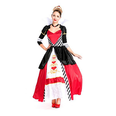 New Alice In Wonderland Cosplay Costume Reine des Coeurs Rouge Reine Costume Femelle Elegant