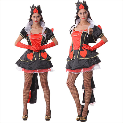 Zwart Rood Hartenkoningin Hottie Kostuum