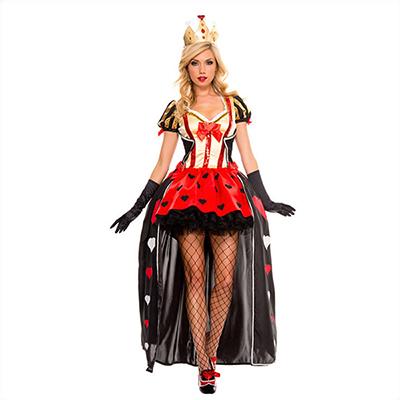 Reine des Coeurs Cosplay Poker Reine Fitted Ball Robes Boîte de nuit Chanteur Carnaval Vêtement