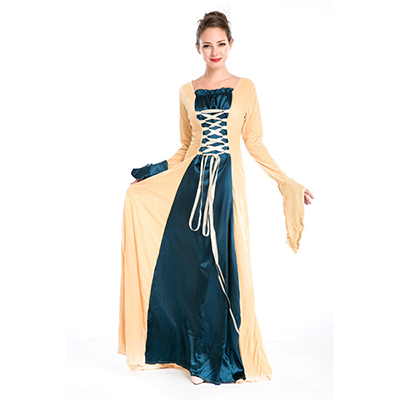 European Royal Vintage Medieval Renaissance Champagne Dress Halloween Cosplay Costume