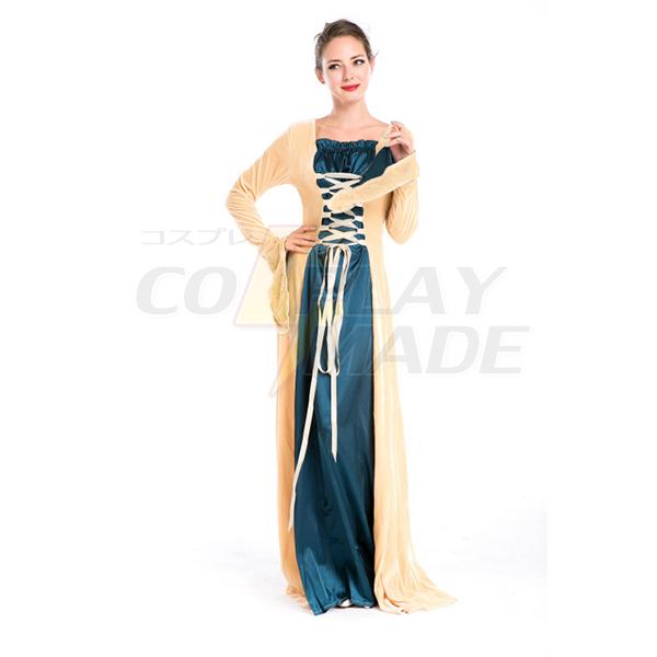 Europæisk Royal Årgang Middelalderlige Renæssance Champagne Kjoler Halloween Cosplay Kostume