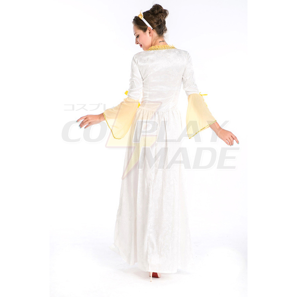 European Royal Vintage Medieval Renaissance White Dress Halloween Cosplay Costume