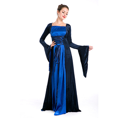 European Royal Vintage Medieval Renaissance Blue Dress Halloween Cosplay Costume